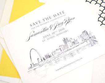 St Louis Skyline Wedding Save the Date Cards (set of 25 cards)