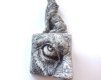 Wolf sculpture, wall sculpture, wolf tile, dog sculpture, decorative tile, howling wolf, eye sculpture, wolf totem, wolf figurine, wolf eye