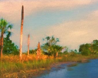 Marsh, Palm Trees, Coastal Sunset Landscape Coastal Art Print  Beach House, Coastal Decor, Marsh Painting, Beach Cottage Art, Nautical Decor