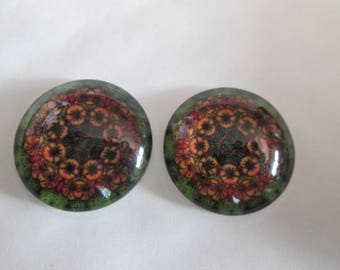 2 cabochons round glass 20 mm printed flowers