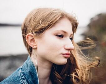 Silver Howlite Spike Long Dangly Earrings