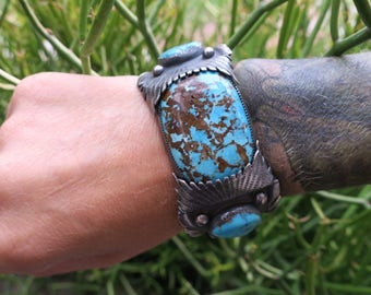 Turquoise Cuff. Repurposed vintage sterling silver watch cuff with Turquoise. Unisex cuff bracelet. Collector piece.