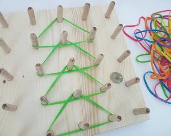 Geoboard, wood geoboard, montessori toddler toys, rubber band geoboard, baby gift, montessori gift