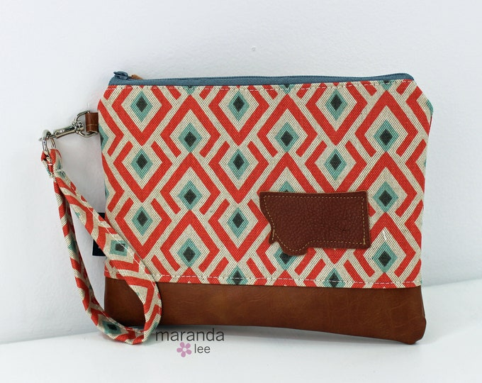 Flat Clutch Large- On Point Coral with Montana Patch and PU Leather READY to SHIp