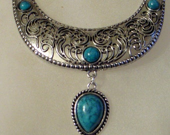 Tribal Necklace-Earrings Silver With Green Blue Turquoise Engraved Design - Bib Necklace SALE Art Nouveau