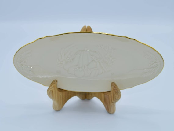 Lenox Harvest Condiment Dish Vintage Ivory Gold Fall Relish Tray Autumn Serving Porcelain Dish Thanksgiving Dinnerware