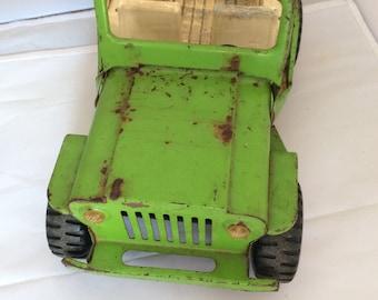 Vintage Green Metal Tonka Jeep