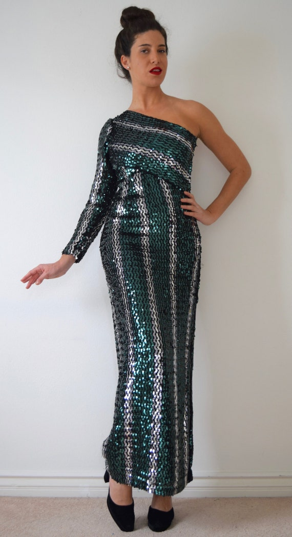 Evening 90s One medium Shoulder size small Vintage Sequined Gown Fw6fx61q