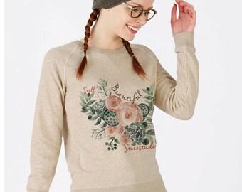 Women's organic cotton sweat-shirt Beige Heather - round neck with triangle under collar -