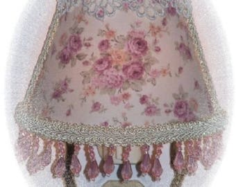 Lt Purple Roses Country Cottage Chic NIGHT LIGHT with Lavender Beading