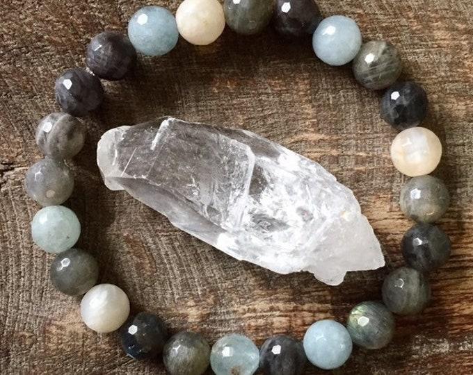 Renewal | Aquamarine, Labradorite + Moonstone | Spiritual Junkies | Stackable Mala Bracelet | Yoga + Meditation
