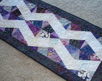 """Purples X-Block Table Runner, 19"""" by 46"""""""