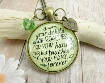 Grandma Necklace Keychain Grandchild Reaches For Your Hand Touches Heart Grandmother Womens Jewelry Gift Charm Mother's Day Meaningful Card