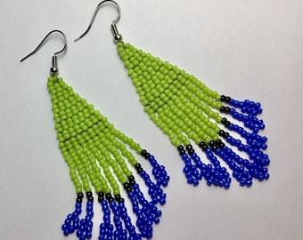 Triangle Style Fringe Earrings,  Beaded Earrings, Brick Stitch Earrings