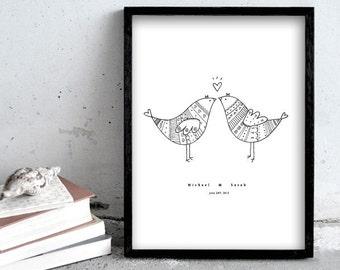 Personalized art print, wedding present, love birds illustration, 30x40 black pen print, birds in love
