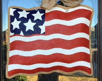 Hand-Painted Waving American Flag Burlap Door Hanger