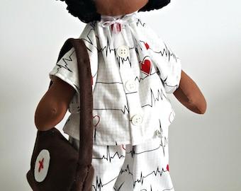 Graduation gifts black Nurse Graduate gift textile doll nurse gifts  Nurse doll fabric doll nurse fabrics custom doll littles by Bella