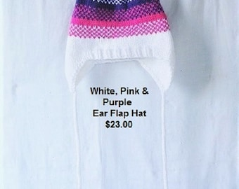 Knitted White, Hot Pink and Purple Ear-Flap Hat,  Snowboarder Hat,  Winter Hat