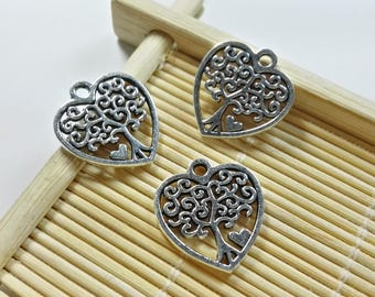 30Pcs Double Sided Antique Silver Tree Of Life Charms ,Tree Of Life Pendants ,Tree Of Life Jewelry , Heart Charms , Heart Pendant