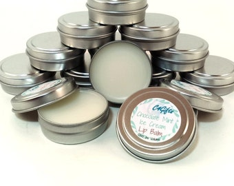 Chocolate Mint Ice Cream Lip Balm - Unsweetened, Chemical, Dye, Preservative Free - Natural Lip Balm, Beeswax Lipbalm, Lip Care