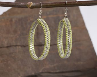 Earrings made of recycled zippers, rings, green earrings lime & silver