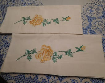 Vintage Pair Matching Ivory Pillowcases with Yellow/Orange/Green Floral Embroidery