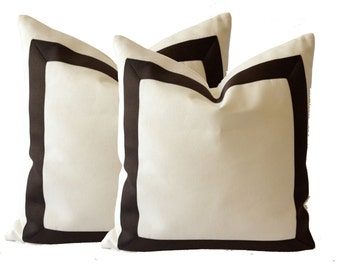 Cotton Canvas Decorative Pillow Cover with Dark Brown Grosgrain Ribbon Border - Canvas Color Available White, Linen Or Off White Canvas
