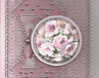 Women and flowers, 3D diamond category flowers - birthday, thank you, get well, retirement, mother's day, pink card