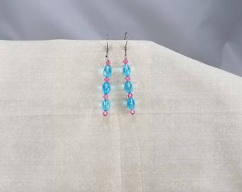 beaded jewelry,bling,earrings,sparkle,light blue,pink,hypoallergenic,hot pink