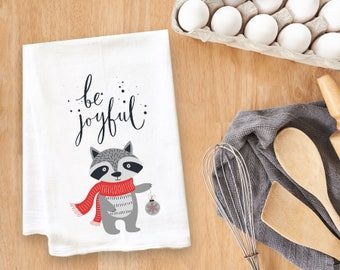 Be Joyful Fox Tea Towel Flour Sack Towel Kitchen Towel