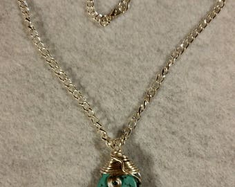 Turquoise and Sterling Silver plated wire wrapped pendant necklace