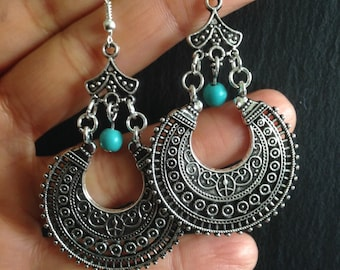 Bali Style Earrings, Turquoise Earrings, Turquoise Jewellery, Ethnic, Boho, Bohemian, Tribal, Hypoallergenic