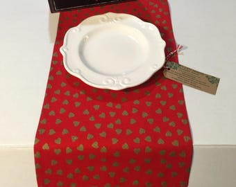 Valentine Table Runner 10 x 36 or 12 x 72 Red with Metallic Gold Hearts / Ivy Gate Designs