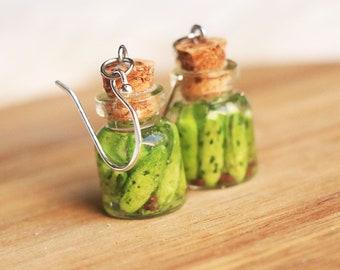 Jarred pickles earrings - food jewelry, food earrings, fruit jewelry, pickle earrings