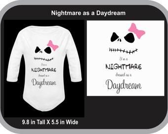 Nightmare/Daydream Custom baby Bodysuit, Baby Creeper