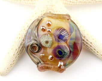 Lampwork Bead Glass Lentil Focal Blue, Green, Iridescent Purple and Gold
