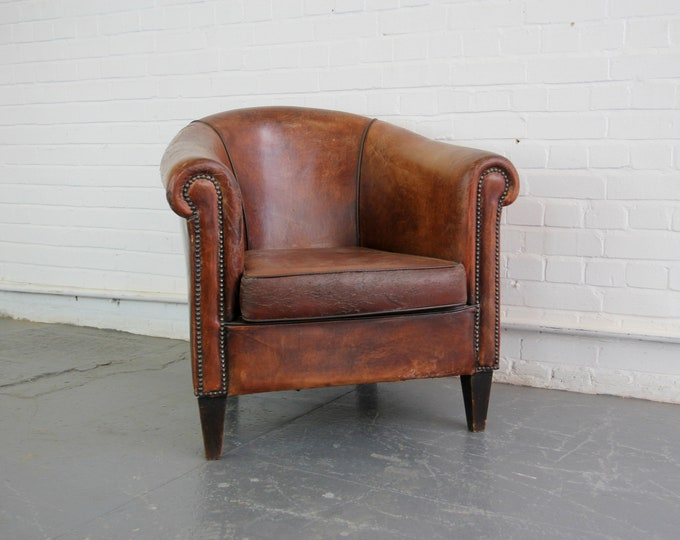 Sheepskin Leather Cognac Club Chair Circa 1950s