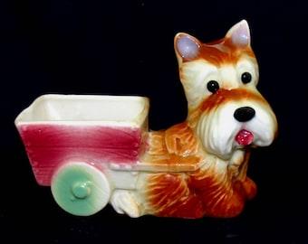 Vintage yorkshire terrier dog planter-cute yorkie puppy figurine