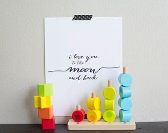 I Love You to the Moon and Back Nursery Art, Children's Art Quote, Nursery, Kid's Room Art, Playroom Art Print, Digital Art Print