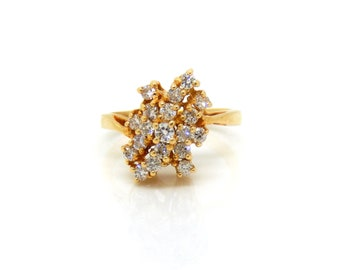 Vintage Diamond Cluster Ring in 14K Yellow Gold - X2991