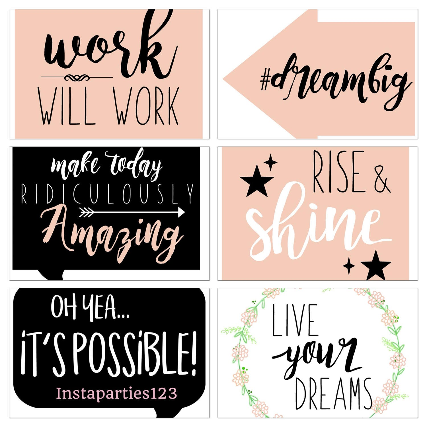 Photo Booth Quotes Digital Boss Babe Photo Booth Props Sayings 19 Files Instant