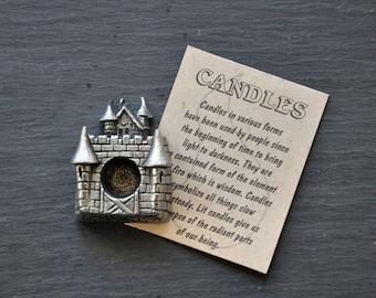 Vintage Pewter Castle Mini Chime Candle Holder