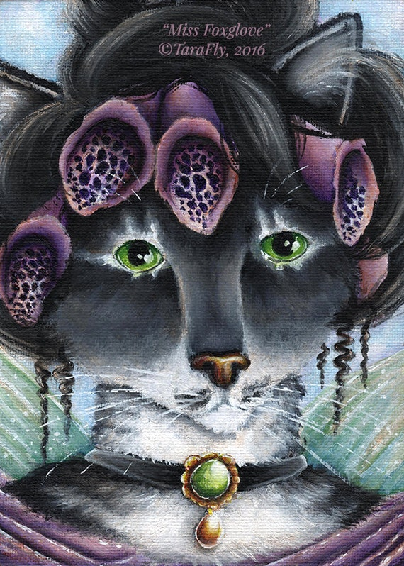 Foxglove Fairy Cat Fantasy Art 5x7 Fine Art Print CLEARANCE
