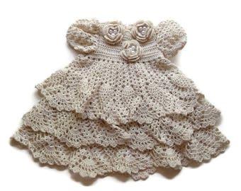 Preemie - Crochet Baby Dress - Infant  - Newborn - Reborn Doll Clothes - Off White dress