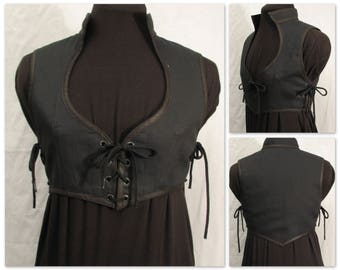 Black Canvas Cropped Brigantine Bodice - Made to Order - blkdck3 - Odd Bodkin
