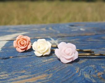 3 piece hair pin set coral pink, Ivory, pale pink