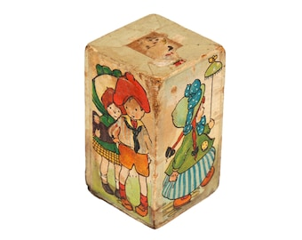 FREE SHIPPING: Vintage Wood Toy Rattle - Fabulous Paper Wrapped Graphics on Block with Working Bell Inside