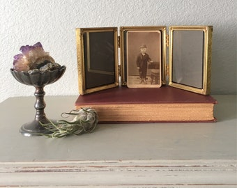 Vintage Picture Frame In Lovely 24k plated Gold Tone Metal / 3.25x4.25 Triple Hinged Trifold / antique Art Deco floral filigree