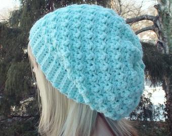 Mint Green Crochet Hat, slouchy beanie for women, slouchy hat, oversized slouch beanie, chunky hat, winter hat, slouch hat