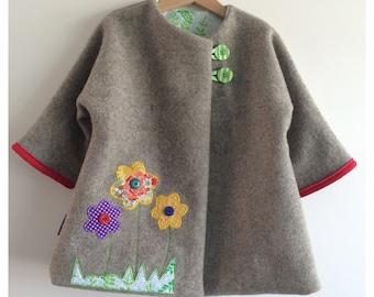 """Girl baby toddler long wool coat """"Flower Garden"""""""